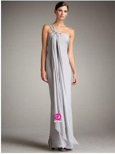 Fourreau Épaule asymétrique Longueur ras du sol Robe de soirée en Mousseline polyester avec Perle Ruché(FR020900 )