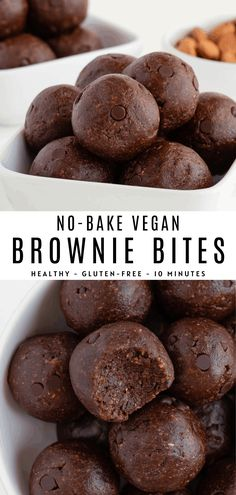 No bake brownie bites that are vegan and gluten-free! Enjoy these brownie energy balls made with healthy ingredients like dates, almonds, walnuts and cacao. Healthy Sweets, Healthy Dessert Recipes, Healthy Baking, Vegan Desserts, Easy Desserts, Baking Recipes, Snack Recipes, Healthy Snacks, Snacks Ideas
