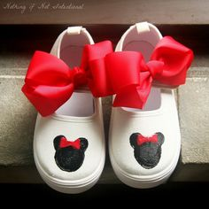 Use puffy paint on canvas shoes from Hobby Lobby and add a bow for Minnie Shoes. Courtney will love it for Disney!