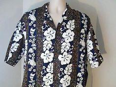 ALOHA REPUBLIC Vintage Mens 2XL  Hawaiian Shirt Flowers Turtles Palm Trees #ALOHAREPUBLIC #Hawaiian