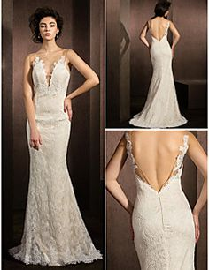 Trumpet/Mermaid Jewel Sweep/Brush Train Lace Wedding Dress (1798928). Get wonderful discounts up to 70% Off at Light in the box using Coupons.