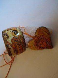 Set Steps Egypt porcelain heart Pendant and a by VesArtAtelier