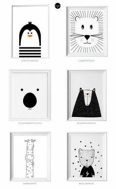Black and white kids art from Etsy Schwarzweiss-Kinderkunst von Etsy Little flea interiors // kids homewear Baby Bedroom, Nursery Room, Nursery Wall Art, Boy Room, Kids Bedroom, Nursery Decor, Bedroom Decor, Baby Room Art, Kids Room Wall Art