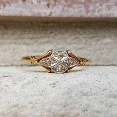 Antique Edwardian Diamond Cluster Engagement Ring in 18k and