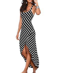 4c9c595d044 SanVera17 Women s Casual Sundress Sleeveless Stripes Loose Long Beach Dress  Black US 0 Sexy Summer Dresses