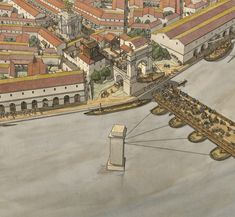 Gaul, Arelate (Arles), Scene of Towpath, by Jean-Claude Golvin Roman Architecture, Architecture Drawings, Historical Architecture, Ancient Rome, Ancient History, Ancient Greece, Rome Antique, St Emilion, Poitiers