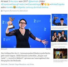 At least 3 #scorpio won 2017 @berlinale (Ildikó #Enyedis+#GeorgFriedrich+#DanielaVega)😍👏👍+#AnkeEngelke astro #snake😂http://www.stuttgarter-zeitung.de/inhalt.berliner-filmfestival-das-sind-die-gewinner-der-berlinale.5c58467d-84f6-4c30-91de-4b09bf89772c.html