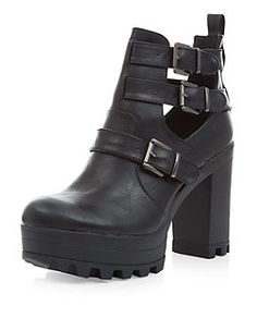 2a5b25ba481e Red Herring Black lace-up block heel ankle boots (48 NZD) ❤ liked ...