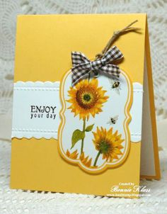 handmade card from Stamping with Klass: Sunflower Tag for Brenda ,,,luv the use of yellow as the base card ,.. focal point tag with fancy label shape, sunflowers& bees ,,, like the black and white gingham ribbon on the tag ... beautiful card!!