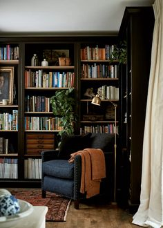 Home Library Rooms, Home Library Design, House Design, Small Home Libraries, Library Bedroom, Library Ideas, Living Room Decor, Living Spaces, Diy Home
