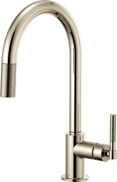 Brizo Brilliance Polished Nickel Litze Single Handle Arc Spout SmartTouch Pull Down Kitchen Faucet with Industrial Handle and On/Off Touch Activation - Limited Lifetime Warranty Year on Electronic Parts) Best Bathroom Faucets, Best Kitchen Faucets, Pull Out Kitchen Faucet, Bar Faucets, Sinks, Taps, Black Kitchens, Cool Kitchens, Ferguson Plumbing