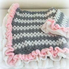 (4) Name: 'Crocheting : Crochet Baby Blanket Granny Ruffle