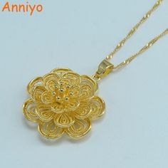 >> Click to Buy << Anniyo Flower pendant necklaces for women gold color plant bloom necklaces woman,Lifelike jewelry #Affiliate