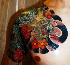 Half sleeve, CHest, Okinawa Marine Dragon Tattoo. Okinawan Master Artist