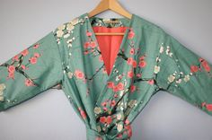 Mid Calf Kimono Robe. FLANNEL LINED.  Maternity Robe. Bathrobe. Robe. Dressing Gown. Modern Kimono Garden Teal. on Etsy, $110.00