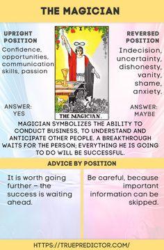 The Magician tarot card meaning in readings — True prediction Tarot Interpretation, Fortune Reading, The Magician Tarot, Tarot Cards For Beginners, Tarot Astrology, Astrology Numerology, Tarot Card Spreads, Love Tarot, Chakra