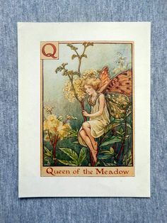 This beautifull Queen of the Meadow Alphabet Flower Fairy Vintage Print by Cicely Mary Barker was printed c.1940 and is an original book plate from and early Flower Fairy book. This is an original page (book plate) from the vintage book and not a modern copy or reproduction. This print