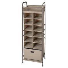 This vertical storage unit features 12 cubbies to store shoes and accessories, a top shelf for keys, sunglasses and smaller items. Also included are a bottom drawer to hide away hats and scarves. Perfect for a foyer, mudroom, or bedroom. Color: Cobblestone.
