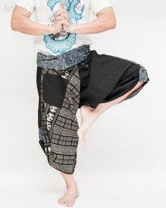 Size M/L Wrap Around Fold Over Waist Samurai Pants (Black Elephants Square Motif) Tribal Pants, Hippie Pants, Yoga Trousers, Harem Pants, Fairy Makeup, Mermaid Makeup, Makeup Art, Samurai Pants, Burning Man Outfits