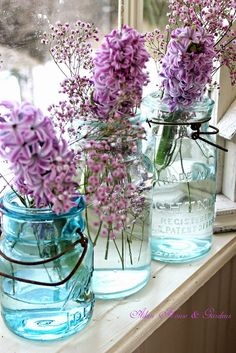 Mason Jars & Lilacs; I love the smell of my lilac hedge in the Sprong...can hardly wait for this year after such a horrible winter....b