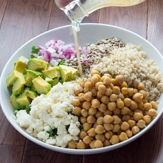 Salad With Kale, Barley, Avocado Sunflower Seeds, Chickpeas And Feta With Honey Lemon Vinaigrette Dressing #recipe #food #healthy #cleaneating