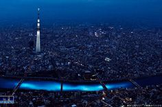 In 2012, 100,000 illuminated blue LEDs were let go into the Sumida River at the Tokyo Hotaru Festival. See how the LED lights look as though they are the underwater currents invisible to the naked eye!  #travel#lighting#Tokyo