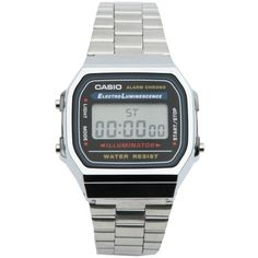 Casio A168WA-1YES Digital Bracelet Watch ($38) ❤ liked on Polyvore featuring men's fashion, men's jewelry, men's watches, watches, accessories, jewelry, casio, silver, filler and casio mens watches