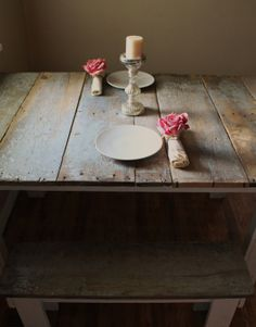 A table and benches made from salvaged barn wood.