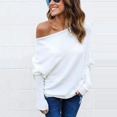 a1a14196f9 HiloRill Pull Femme 2018 Off Shoulder Knitted Sweater Women Casual Long  Batwing Sleeve Baggy Jumpers Tops Oversized Pullover XL
