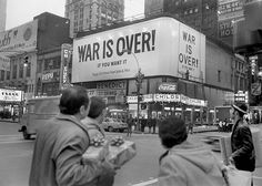 John Lennon and Yoko Ono's billboard in Times Square during the increasing opposition of continuing the Vietnam War 1969. [780 555]