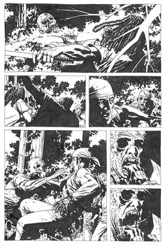 Charlie Adlard - Walking Dead #34 original comic art page.  This is a standard, 11x17 comic art page, which is getting rarer and rarer in this series.  In order to stay on schedule, Adlard moved to smaller, 9x14 size paper several issues later, and has done all issue since (now at issue #100) at that size.  The bigger ones are much more detailed, and IMO, much nicer.