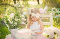 MUST move white table outside for pics like this at the tea party birthday!!!