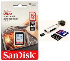 SanDisk Ultra 16GB SDHC SD Class 10 40MB/s 266x Flash Memory Camera+ Card Reader #SanDisk