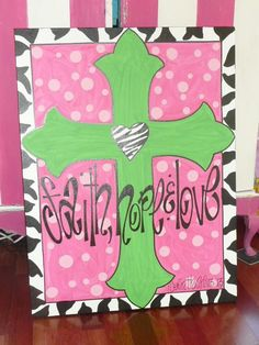 Custom Cross Wall Decor | Houston, TX | SillySillyGirls.com personalized monogram faith,hope & love  1 Corinthians  hand painted polka dot  zebra  baptism whimsical