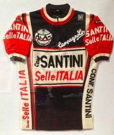 SANTINI SelleITALIA Cycling Art, Cycling Jerseys, Road Cycling, Cycling Clothing, Cycling Outfit, Jersey Shirt, Bicycles, Old School, Bike