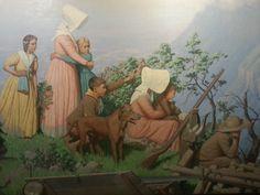 Het verhaal van de Grote Trek en de Slag bij de Bloedrivier in een groot schilderij. Foto: G.J. Koppenaal - 9/10/2014. Pioneer Crafts, My Heritage, African History, Woman Painting, Ribbon Embroidery, Family History, South Africa, Pretoria, Creatures