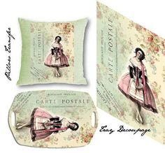 french carte postale with victorian ballerina large image perfect for pillow transfers and decoupage