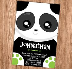Panda Party Invitation - First Birthday Invite - - Black, White and Green - Printable or Printed Drink Labels, Wine Bottle Labels, Ep1 Cap Petite Enfance, Panda Party, Baby Shower, Name Banners, Chalkboard Signs, Door Signs, Printed Materials