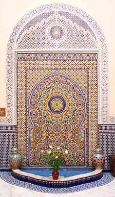 "The beautiful Zellige of Morroco (meaning ""tile"" in Arabic) made their appearanc. - The beautiful Zellige of Morroco (meaning ""tile"" in Arabic) made their appearance around the century. Probably inspired by the Roman and Byzantine mozaics. Islamic Architecture, Beautiful Architecture, Art And Architecture, Moroccan Design, Moroccan Tiles, Moroccan Art, Moroccan Pattern, Islamic Patterns, Tile Patterns"