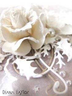 Christmas roses card detail by Velvet Moth Studio