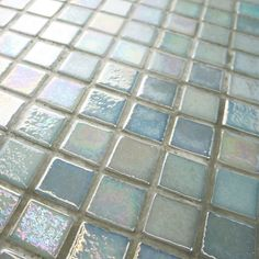 Merola Tile Ruidera Square Agua Mother of Pearl Glass Mosaic Wall Tile is suitable for walls and residential usage. Mosaic Wall Tiles, Mosaic Glass, French Pattern, Glass Brick, Tile Projects, Glass Texture, Color Tile, Bath Ideas, Bathroom Ideas