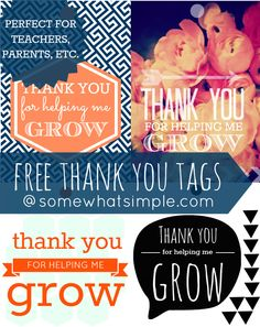 Need a gift for a teacher? Moms birthday is coming up? Grandpa needs a little pick-me-up? Grab one of these FREE Thank You tags and brighten someones day! #freeprintable