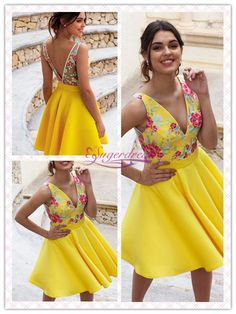Yellow Homecoming Dresses 2019, Floral Graduation Dresses Short #FloralDresses #HocoDresses #YellowHomecomingDresses #HomecomingDressesforTeens Best Formal Dresses, Dresses For Teens, Elegant Dresses, Casual Dresses For Women, Sexy Dresses, Cute Dresses, Short Dresses, Dresses For Work, Summer Dresses