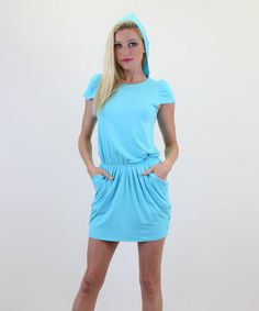 Swimsuit cover up? This Aqua Beverly Hooded Cap-Sleeve Dress by James & Joy is perfect! #zulilyfinds