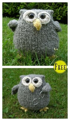 Crochet Toys Patterns Adorable Puff Owl Free Knitting Pattern - This Adorable Puff Owl Free Knitting Pattern is a cute decoration to add to your home. Make some now with the free patterns provided by the links below! Baby Knitting Patterns, Owl Patterns, Crochet Toys Patterns, Stitch Patterns, Knitted Owl, Knitted Animals, Knitted Stuffed Animals, Easy Knitting, Knitting Toys
