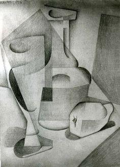 Gris - Nature morte à la cruche, 1916 - dessin au crayon
