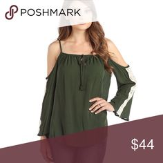 Green Crochet Detail Cold Shoulder Blouse Flirty keyhole design, this trendy, boho cold shoulder blouse has a figure flattering drape and a gorgeous rich green color. The crochet detail is cute and pairs perfectly with jeans, leggings, or a skirt.  100% rayon  ❌ Sorry, no trades. fairlygirly Tops Blouses