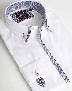 Stylish double collar for men White designer shirt Double Collar Shirt, Collar Shirts, Stylish Men, Men Casual, Chemise Slim Fit, Formal Shirts For Men, Joseph Abboud, Mens Attire, Kurta Designs