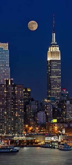 Full moon over New York City, USA