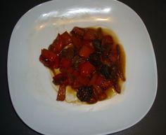 poivron rouge, oignon, chorizo